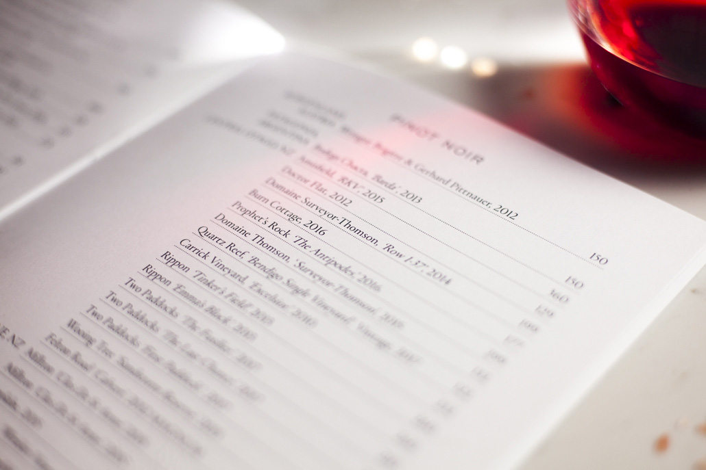 Printing the wine & bar menus for Hippopotamus