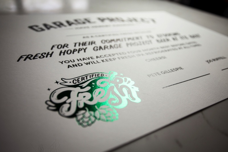 Printing Garage Project's certified fresh certificates.