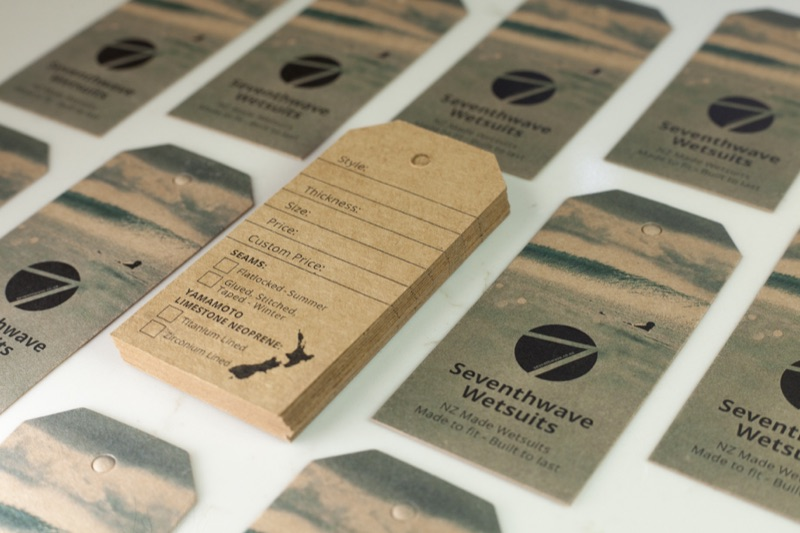 Printing wetsuit hang tags for Seventhwave Wetsuits